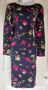 Damen-Hobbs-Kleid-Seide-Gr-10-blau-rot-Blume-Bleistift-Smart-Arbeit-Party-Anlass