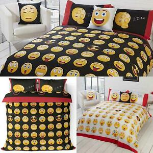 Emoji-Duvet-Covers-Icon-Smiley-Face-Black-White-Reversible-Fun-Bedding-Set-Cover