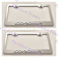 2x Corolla 3d Emblem Toyota Stainless Steel License Plate Frame Rust Free W/ Cap
