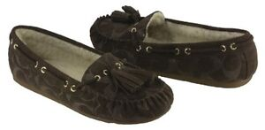 6f9536fe2a7 Image is loading COACH-Women-039-s-Anita-Moccassin-Slippers-Chestnut-