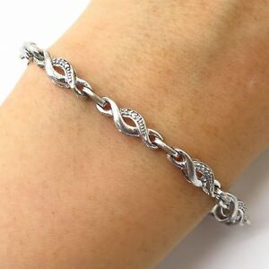 Details About Kay Jewelers Jwbr 925 Sterling Silver Real Diamond Infinity Link Bracelet 7