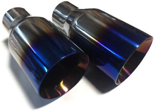 """2.5/""""In 4/""""Out Blue Burnt Exhaust Double Layer Slant Tip Polished Stainless"""