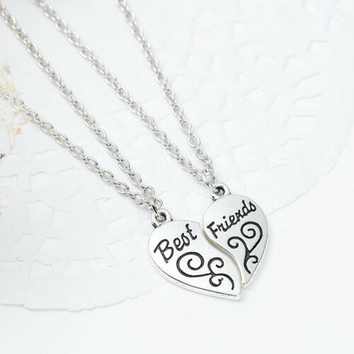 """One Link Cable Necklace Cable Chain Broken Heart Friendship BFF Message /"""" BEST F"""