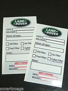 Set Of LAND ROVER Owner Oil Change Service Reminder Stickers - Land rover oil change