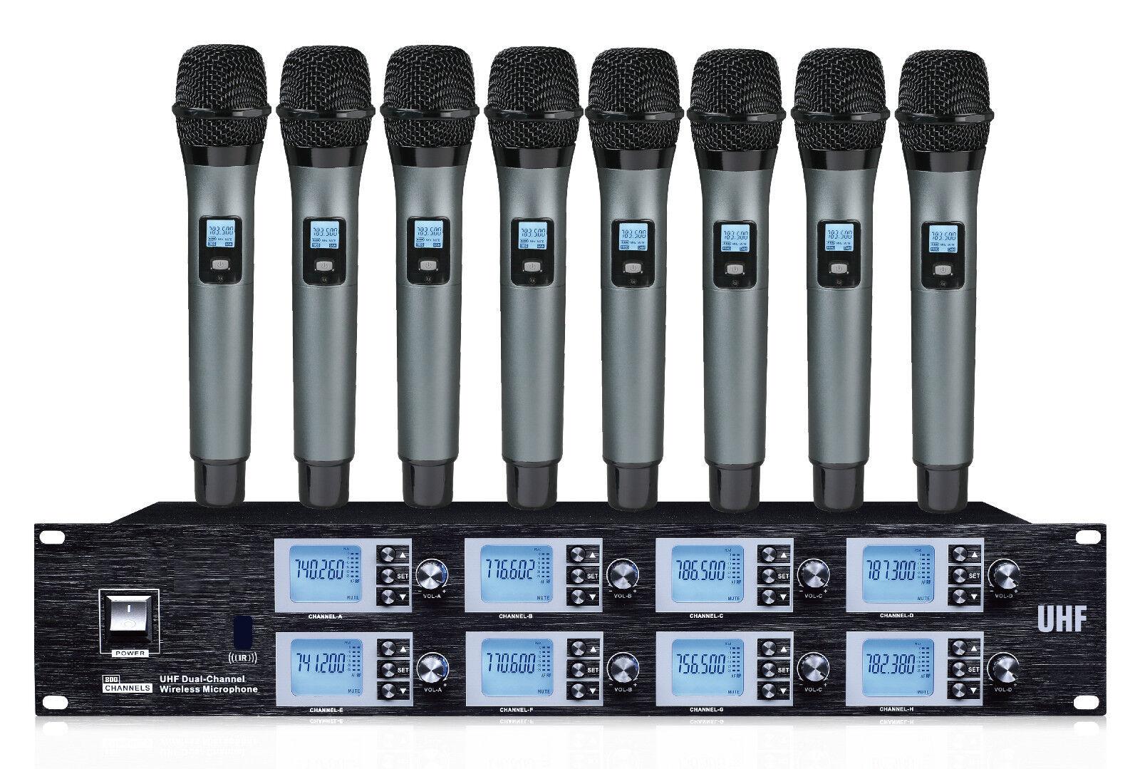 8 Channels UHF Wireless Cordless Microphone mic System PR-U8800SB