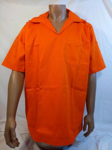 Genuine Inmate uniform pullover safety orange shirt security staff costume,