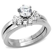 Women's Stainless Steel Round Cz Half Moon Wedding Engagement 2 Ring Guard Set
