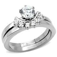 Women's Stainless Steel Round Cz Half Moon Wedding Engagement 2 Ring Guard Set