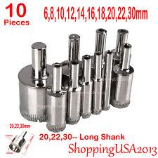 10 Pcs 6-30mm Diamond Coated Drill Bit Set Set Hole Saw Cutter Long Shank Glass@