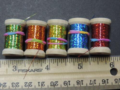5 ASST Spools Extra Thin Flat Holographic Tinsel Flash Ribbing LOT D 60 Yds