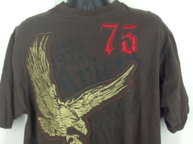 Avirex Mens TShirt Large 75 Brown Gold Eagle Shirt Authentic Brand