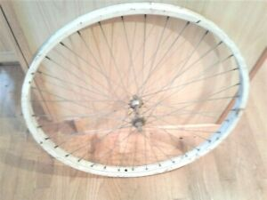 "1960s SCHWINN Front WHEEL 26"" X 1 3/4"" MIDDLEWEIGHT White S7 RIM"