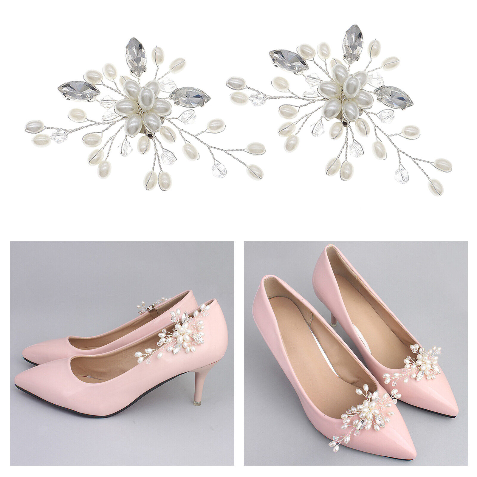 Set of 2 Shoe Clips Female Weddings Party Shoe Charms Buckle Accessories