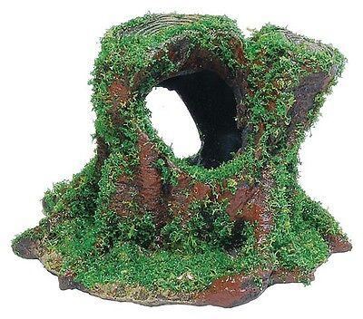 Aquarium Tree Stump with Moss Ornament Reptile Gecko Cave Vivarium Decoration