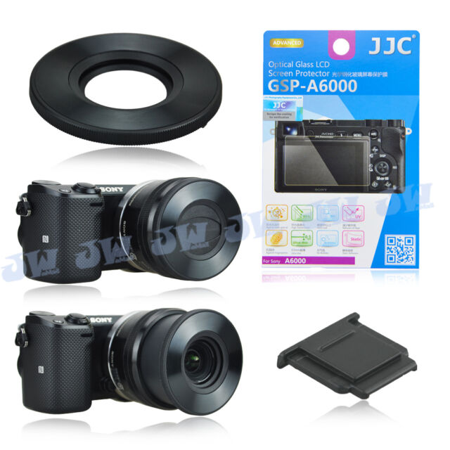 Auto Lens Cap+Screen Protector+Hot Shoe Cover for Sony A6000 A6300L 16-50mm Lens