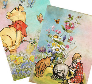 Vintage-Winnie-the-Pooh-Collage-Set-of-TWO-5x7-Craft-Cotton-Fabric-Blocks