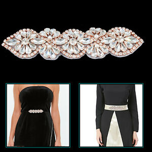 140mm-x-35mm-Rhinestone-Trim-Diamante-Crystal-Motif-Rose-Gold-Patch-Bridal-Dress