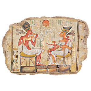 Egyptian Pharaoh Akhenaton, Nefertiti and Daughters Stele Wall Plaque Sculpture