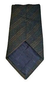 Ermenegildo-Zegna-Tie-70-Wool-30-Silk-Brown-Stripe-On-Navy-Made-In-Italy