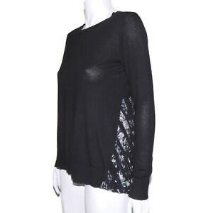 Club Monaco Lovely Layered Knit Top Silk Floral Constrast Blouse Black - S /2637