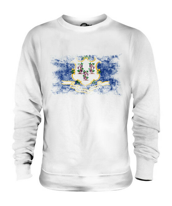CONNECTICUT STATE DISTRESSED FLAG UNISEX SWEATER TOP CONNECTICUTER SHIRT GIFT