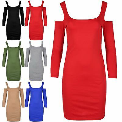 Womens Ladies Cold Cut Shoulder Wide Strappy Bandage Party Bodycon Mini Dress