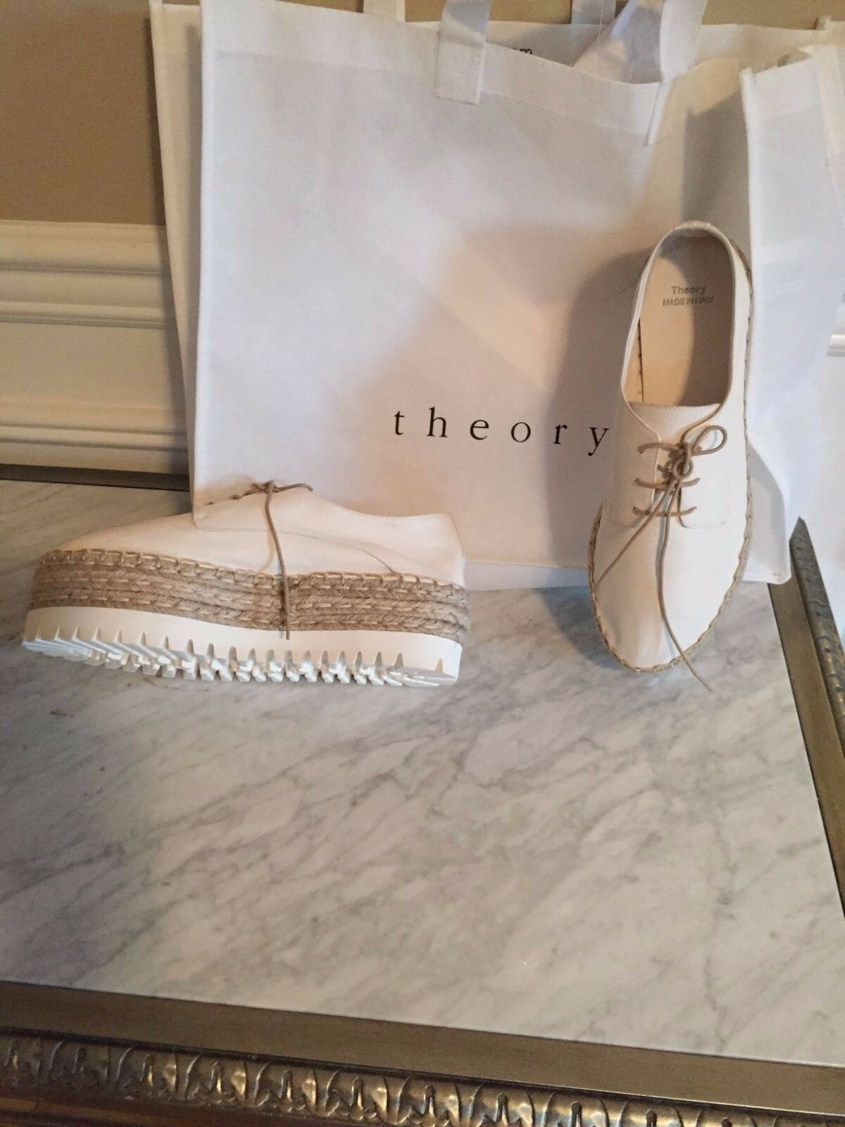 Theory Leather Platform Espadrille shoes  New 9.5