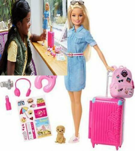 Accessori,. Bambola Barbie FWV25 e Set da viaggio con cucciolo bagagli 10