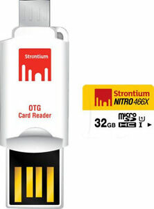 Strontium NITRO CLASS10 32GB MICRO SD UHS-1 466X With OTG Card Reader (SRN32GTFU1T)