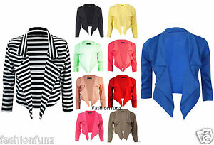 NEW-WOMENS-LADIES-WATERFALL-STYLE-3-4-SLEEVE-PARTY-CROP-BLAZER-JACKET-COAT-8-14