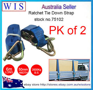 2-x-Ratchet-Tie-Down-Straps-Hook-amp-Keepers-1000Kg-x-50mm-6m-w-Swan-Hook-75102