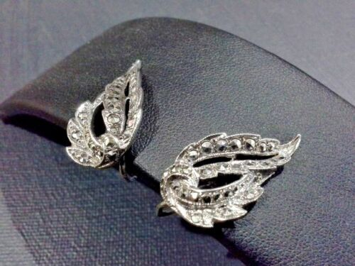 VINTAGE ART DECO STERLING SILVER 925 MARCASITE LEAF SCREW BACK EARRINGS J033