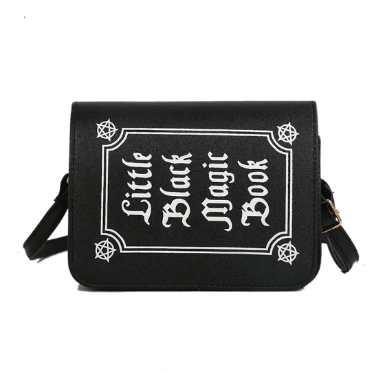 Spell Book Bag PU Black Magic Purse School Women Teenage Girl Gothic Bag Witch