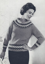 Vintage Knitting PATTERN to make Pullover Sweater V-Neck Inset Band MohairVPanel