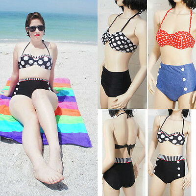 Retro Polka Dot  Vintage Push Up Bandeau Bikini Set Sexy Swimsuits Swimwear S-XL