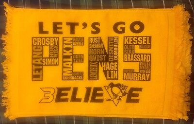 """2007 Playoffs Terrible Towel for Pittsburgh Penguins /""""Lets Go Pens/"""""""