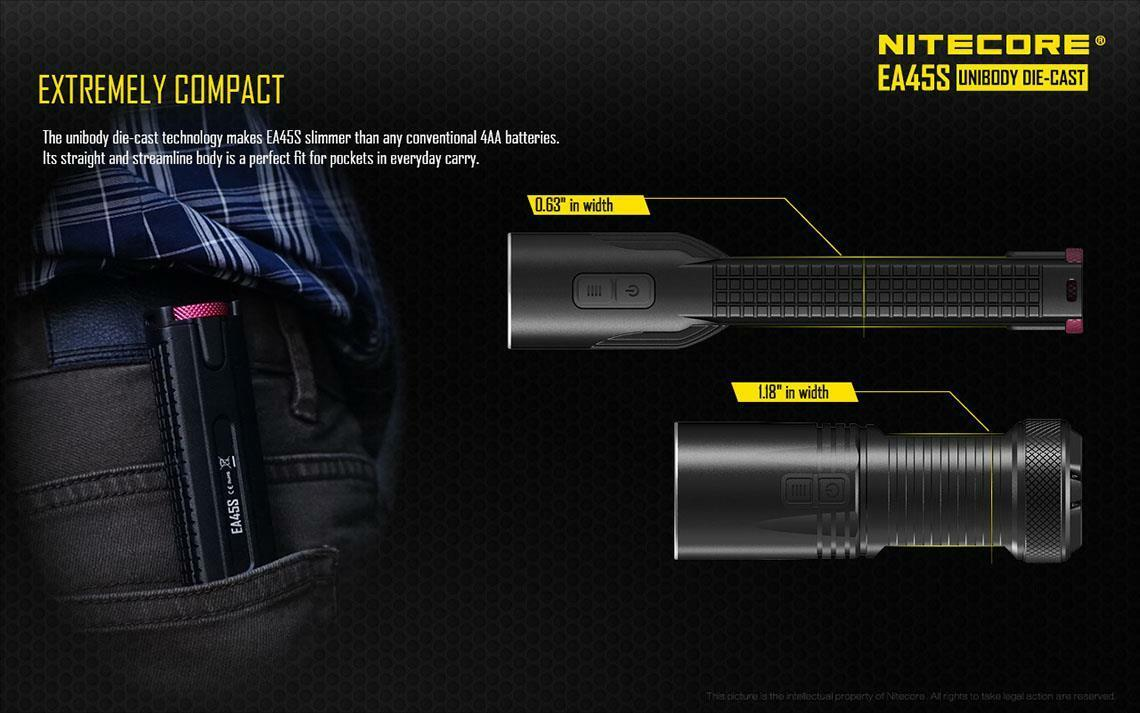 New Nitecore EA45S 1000 1000 EA45S lumen CREE LED AA flashlight with batteries 936f47