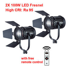 2X 100W LED Fresnel Light CN-100F CRI95 Remote Controller Free Express Shipping
