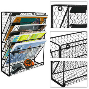 6 Tier Metal Wall Mount Hanging File Organizer Document Letter Tray Holder Rack