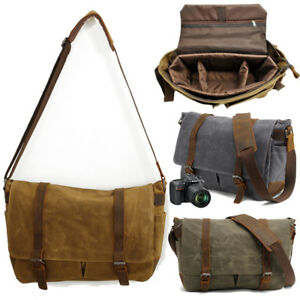 Men's Waterproof Canvas Briefcase Shoulder Bag DSLR SLR Camera Lens Padded Bag