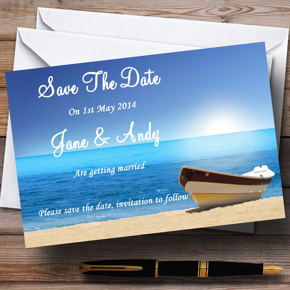 Beach Married Abroad   Jetting Off Personalised Wedding Save The Date Cards