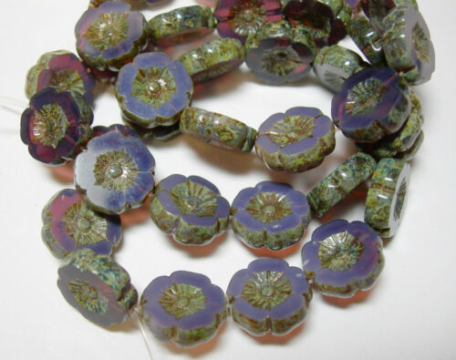 12 beads Amethyst Purple Opal Picasso Czech Glass Flower Beads 12mm