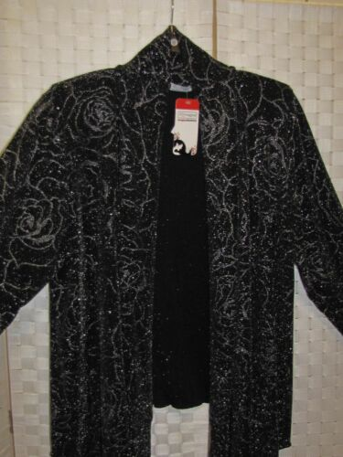 56 Roses Silver 58 Nuovo Cardigan Glitter Zipfel Magna Black w1xtOY
