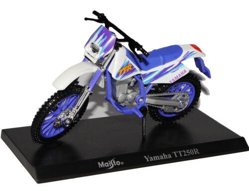 Yamaha TT250R Enduro Blau Weiss Mit Sockel 1//18 Maisto Modell Motorrad mit ode..