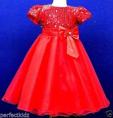 Di Animo Gentile Baby Ragazze Battesimo Vestito Rosso Con Lustrini Festa Matrimonio Damigelle Pageant-mostra Il Titolo Originale