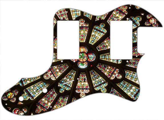 Telecaster Thinline'72 RI Pickguard Fender Fender Fender Guitarra personalizada gráfica de vidrio de la Iglesia  venta con alto descuento