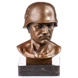 9931080 Bronzo Scultura Busto Soldato Germania Autografato Piedistallo 15x10x7cm
