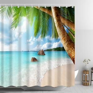 Image Is Loading Beach Scene Shower Curtain Themed Tropical Palm