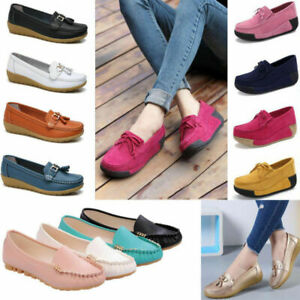 Women-New-Slip-On-Loafers-Soft-Boat-Round-Toe-Moccasins-Office-Flats-Heel-Shoes