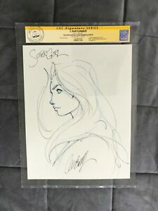CGC J SCOTT CAMPBELL Original Art SUPERGIRL sketch signed ss black cat psylocke